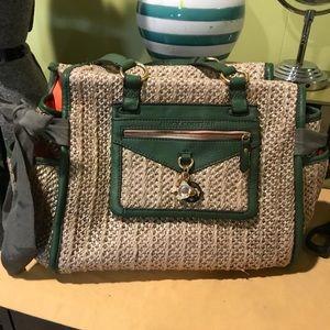 Handbags - Army green and straw hand bag